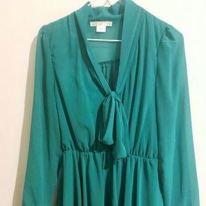 Hazel Long-Sleeve Tie-Front Dress
